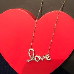Rose gold over sterling silver Love necklace.